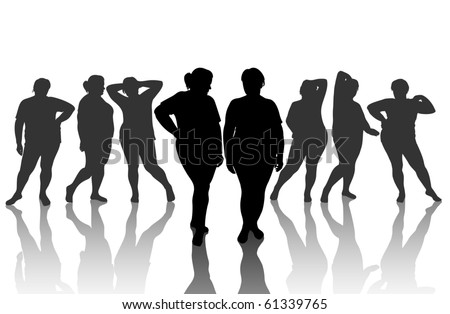 8 figures of thick woman - stock vector