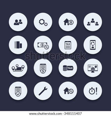 16 finance, costs, tax round icons set, vector illustration - stock vector