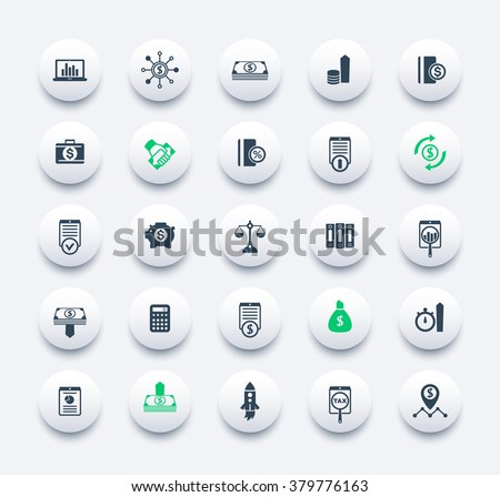 25 finance, investing icons, venture capital, shares, stocks, investor, funds, money, investment, income  round modern icons set, vector illustration - stock vector