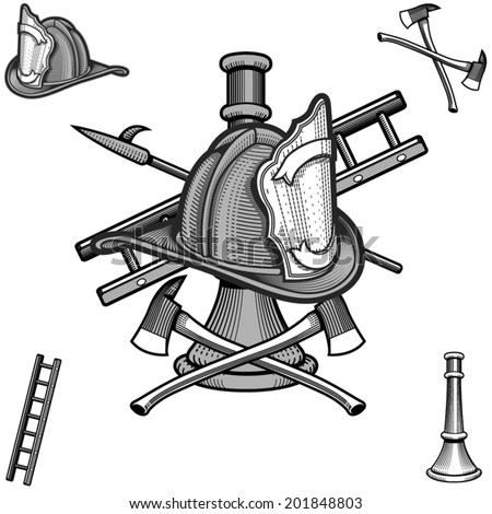 fire department engraving style - stock vector