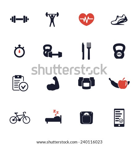 16 fitness, gym, healthy living icons vector illustration, eps10, easy to edit - stock vector
