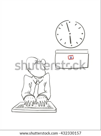five minutes before the deadline. vector illustration - stock vector
