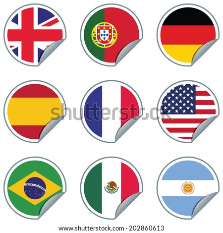 9 Flag stickers: UK, Portugal, Germany, Spain, France, USA, Brazil, Mexico and Argentina. CMYK Ai10 EPS vector illustration. - stock vector