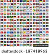 220 Flags of world, flat icons horizontal shapes set , vector illustration (april 2014) - stock vector