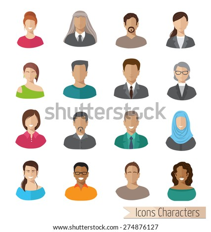 flat characters icons set - stock vector