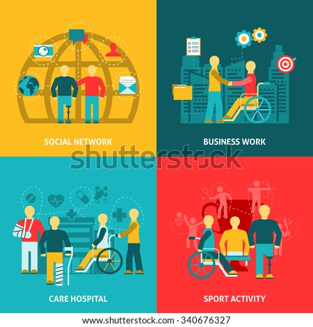 Flat color icons composition with disabled working  in  business  network hospital  sport  vector illustration. - stock vector