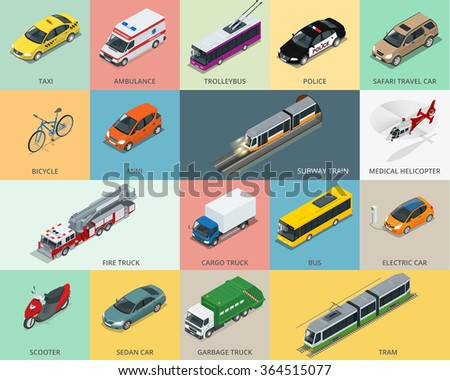 Flat 3d isometric city transport icon set. taxi, Ambulance, trolleybus, Police, safari travel car, Bicycle, Mini, Subway train, Fire truck, cargo truck, bus, Electric car, scooter, Sedan Car - stock vector