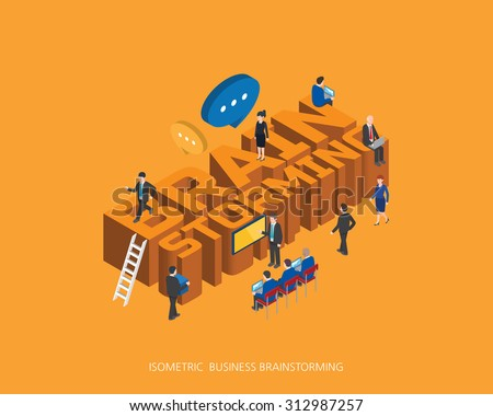 Flat 3d isometric vector illustration brain storming concept design, Abstract urban modern style, high quality business series.  - stock vector