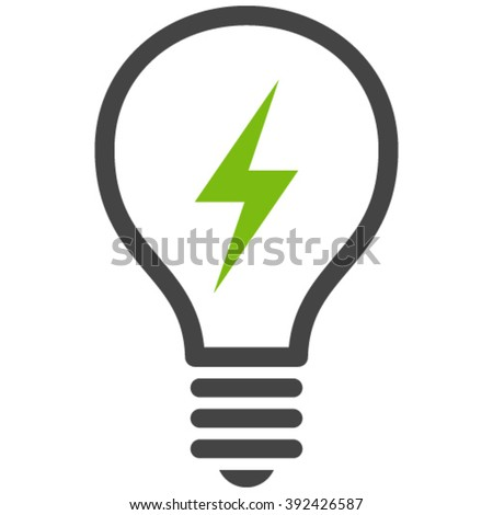Flat eco green and gray electric bulb icon. - stock vector