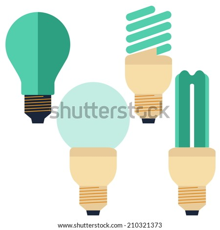 Flat Energy Saving bulb, compact fluorescent lamp and Incandescent lamp - stock vector