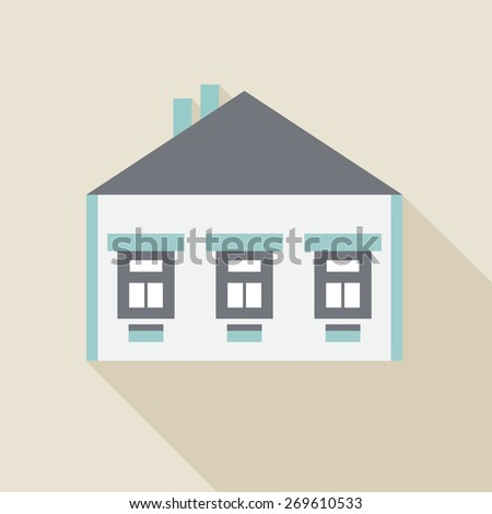 Flat house icon, vector illustration. - stock vector