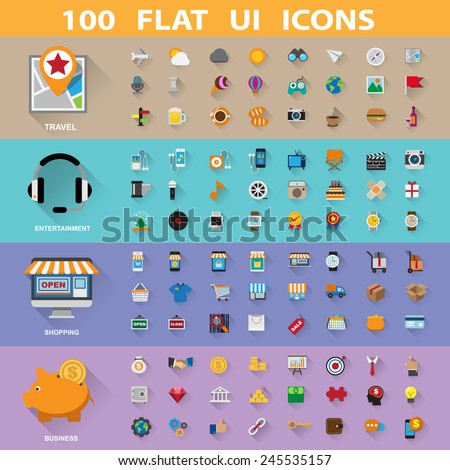 100 flat icons collection.Illustration eps10 - stock vector