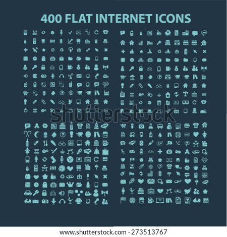 400 flat internet, business, communication, connection, media, application isolated icons, signs, illustrations website, internet mobile design concept set, vector - stock vector