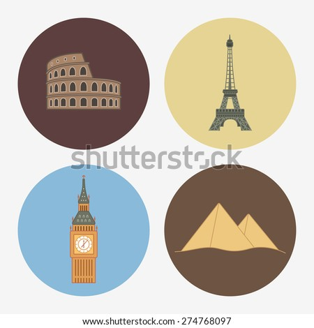 4 flat landmark icons - stock vector