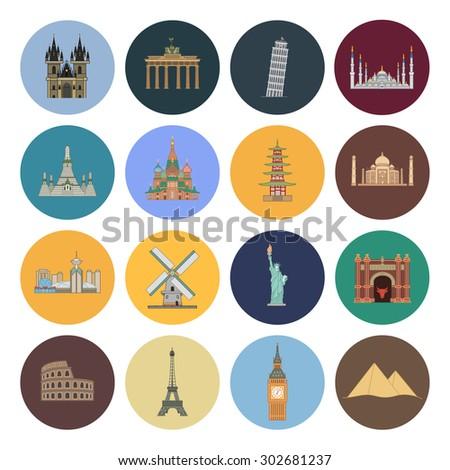 15 flat landmark icons - stock vector