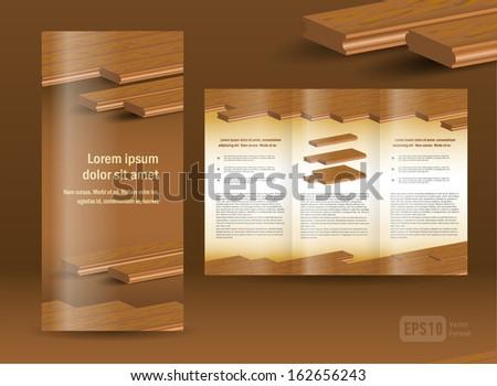 flooring plank brochure design template folder leaflet element timber parquet color brown - stock vector