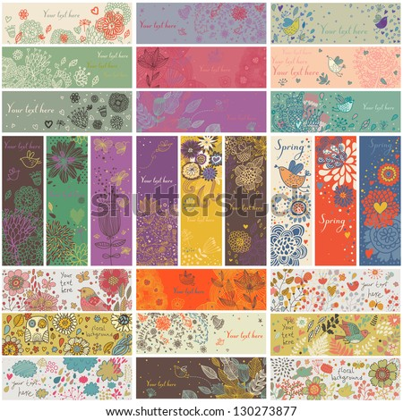 27 floral banners in vector. Romantic set in cartoon style. Horizontal and vertical cards with flowers, birds, hearts, branches. Spring and summer concept - stock vector