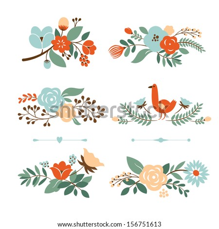 Floral graphic set, Floral banners for life events, vector collection - stock vector