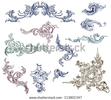 Floral vector design elements and decoration. - stock vector