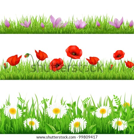 3 Flower Border With Grass, Isolated On White Background, Vector Illustration - stock vector