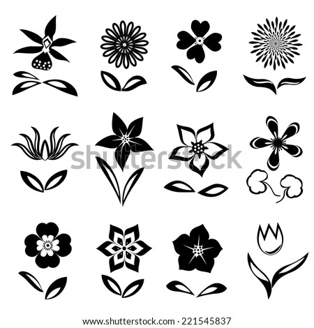 12 Flower icon set. Black cutout silhouettes on white background.  Isolated symbols of flowers and leaves. Vector - stock vector