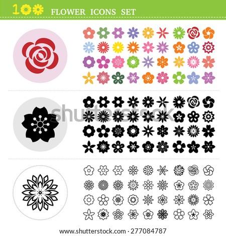 100 flower icons set.Illustration eps10 - stock vector