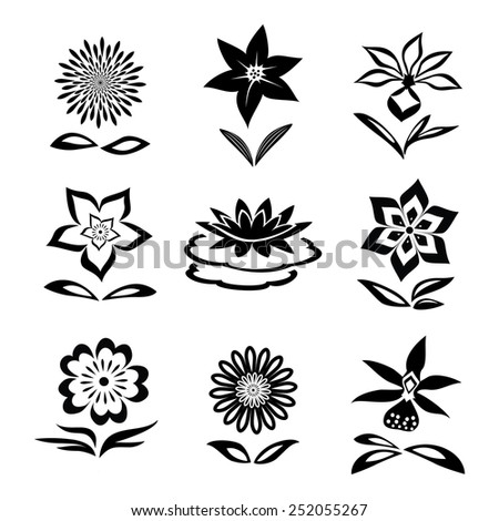 9 Flower set. Chamomile, lily, orchid, waterlily. Black silhouettes on white background.  Isolated symbols of flowers and leaves. Vector - stock vector
