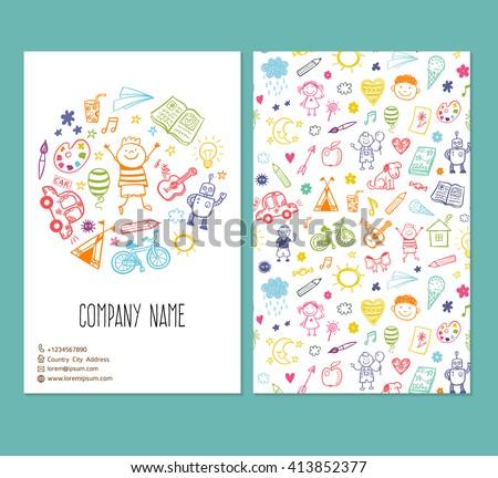 flyer brochure vector template with doodle children drawing - stock vector