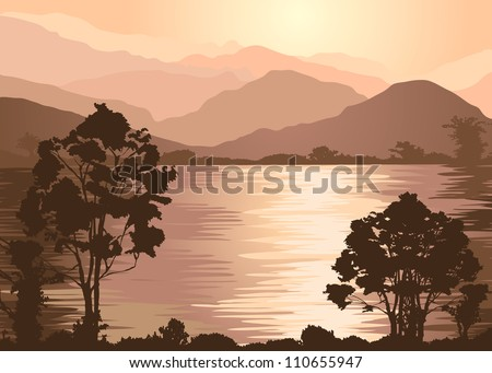 Foggy mountains and lake. Fale Illustrator 8 - stock vector