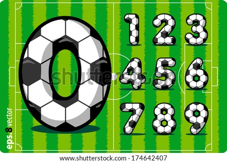 Football (soccer) vector set of numbers, goals scored in the match , from 1 to 0. Eps 8. The rest of uppercase and lowercase letters, symbols and numbers of the alphabet in my portfolio. - stock vector