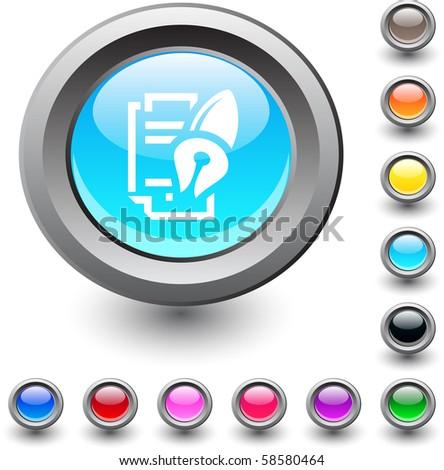 Form and pen  metallic vibrant round icon. - stock vector