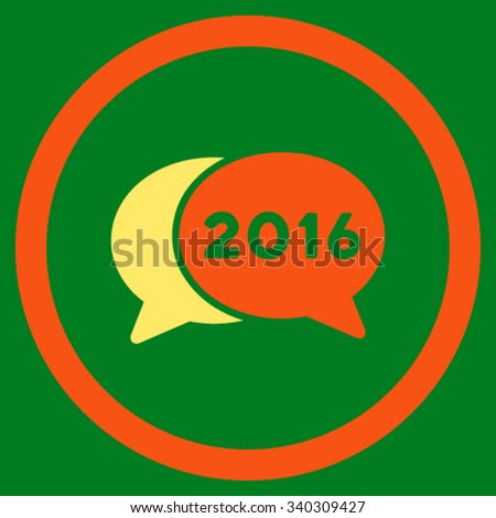 2016 Forum vector icon. Style is bicolor flat circled symbol, orange and yellow colors, rounded angles, green background. - stock vector
