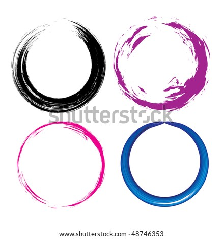 four different Grunge circle with place for your text. vector illustration - stock vector