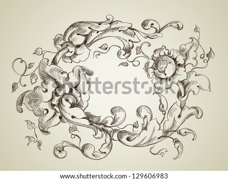 frame engraving with retro floral ornament,  vector illustration - stock vector