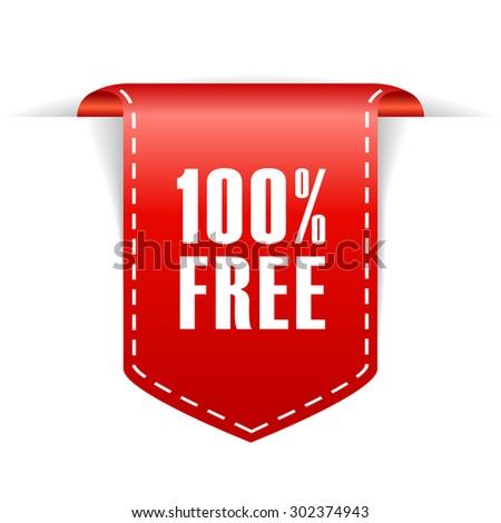 100 free label - stock vector