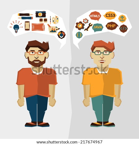 Freelance career infographic. Web developer and Graphic designer.        - stock vector