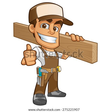 Friendly carpenter, he is dressed in work clothes and carrying a wooden - stock vector