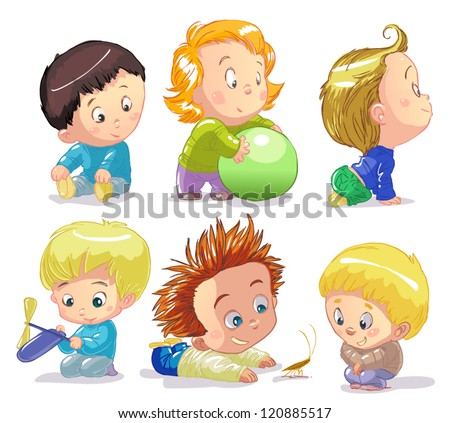 funny babies on a white background - stock vector