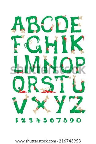 funny font for Halloween zombie alphabet - stock vector
