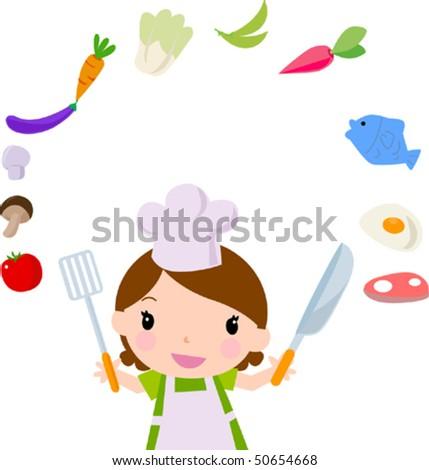Funny kitchen girl - stock vector