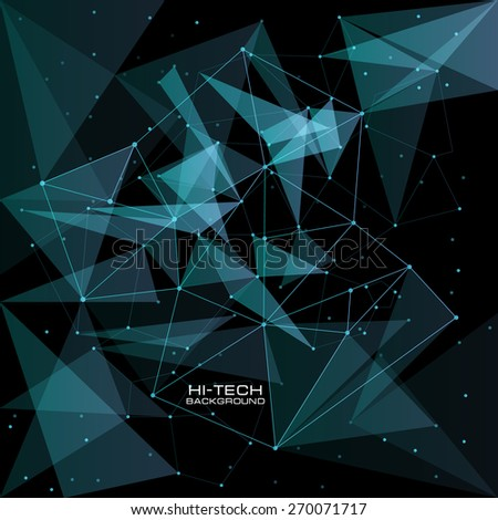 futuristic user interface. Abstract polygonal space low poly dark background with connecting dots and lines. Vector science background. Polygonal vector background. Futuristic HUD background.  - stock vector