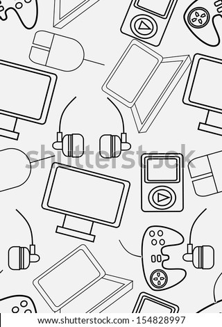 gadgets icons seamless pattern over social media background. - stock vector