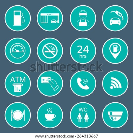 16 gas station icons. Fuel glyph icons. Vector illustration - stock vector