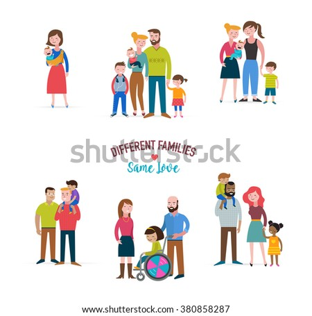 gay family, different kind of families, special needs children, blended coulpe  - stock vector