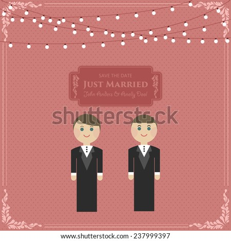 Gay Wedding Card Invitation with husbands in flat Vector - stock vector