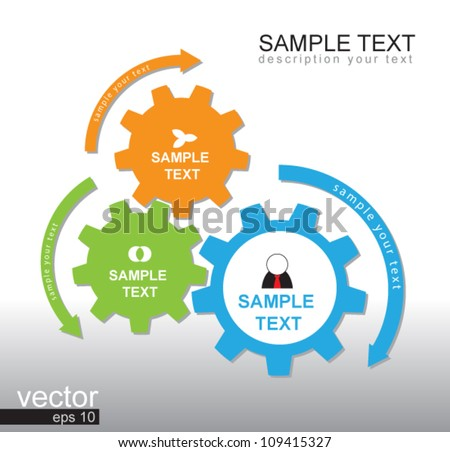 3 gear color vector for business plan, can use for business concept, education diagram, brochure object. - stock vector