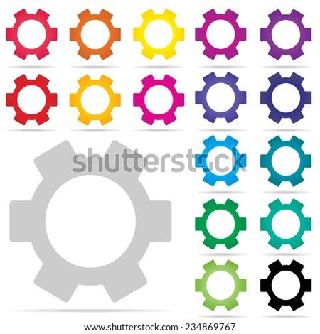 gear icon : cog icon : colorful logo vector - stock vector
