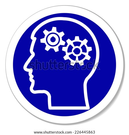 gears in human head -  blue round sticker. Thinking process, intelligence, future, memories,  problems. Vector illustration, you can simply change color - stock vector