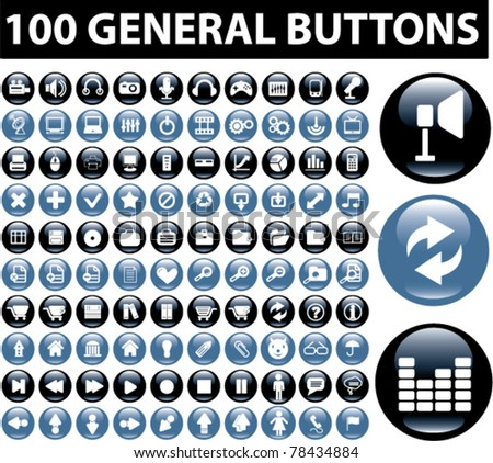 100 general buttons, icons, signs, vector illustration - stock vector