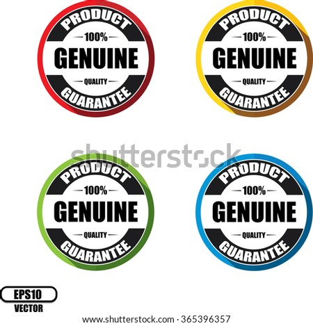 100% Genuine guarantee, Button, label and sign - Vector illustration - stock vector